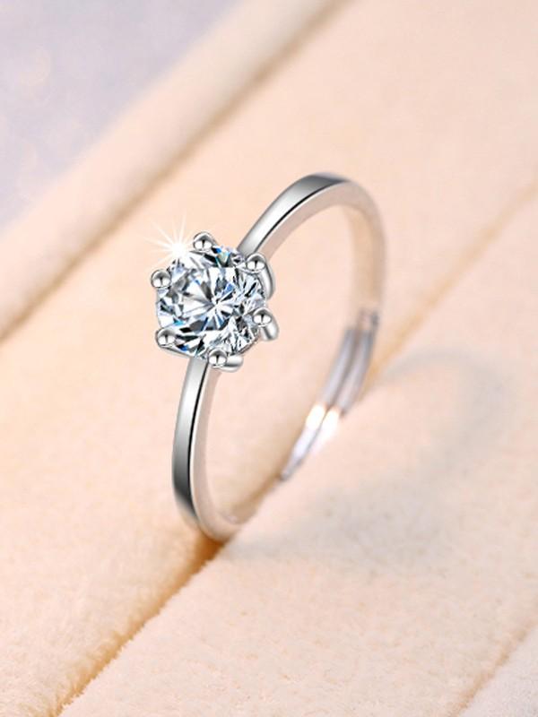 Classic Copper With Zircon Adjustable Wedding Rings
