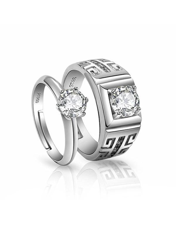 Trending Copper With Zircon Adjustable Couple Rings