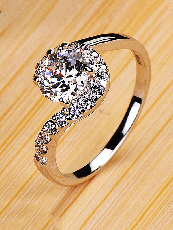 Attractive Copper With Rhinestone Hot Sale Wedding Rings