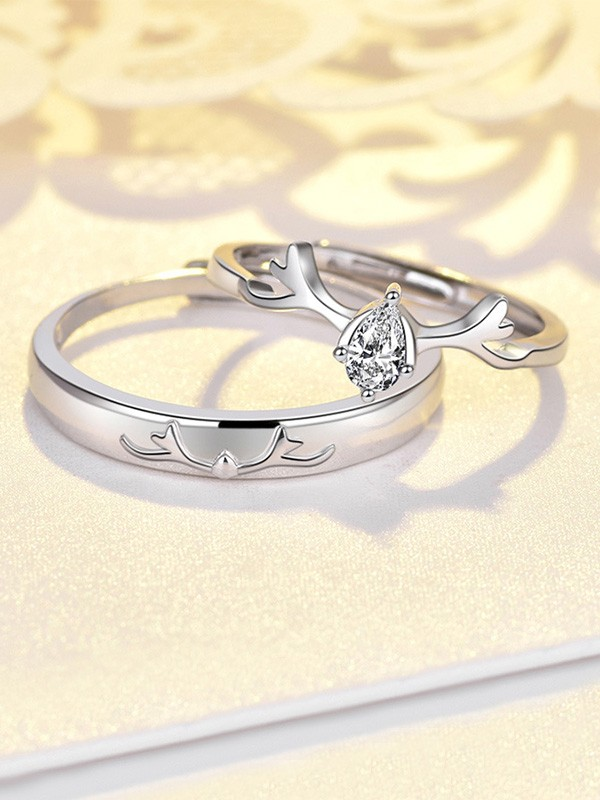 Fashion S925 Silver With Zircon Adjustable Couple Rings