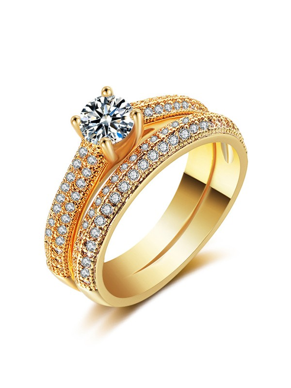 Luxurious Copper With Zircon Hot Sale Wedding Rings