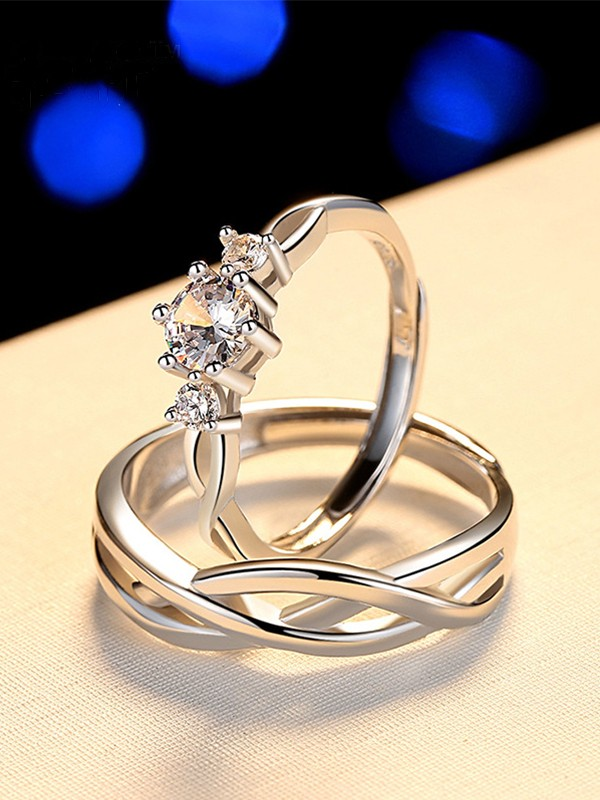 Simple S925 Silver With Rhinestone Adjustable Couple Rings