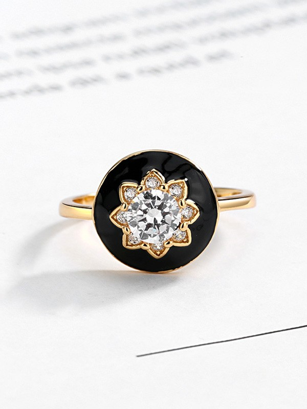 Attractive S925 Silver With Rhinestone Adjustable Rings