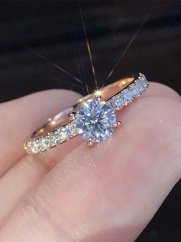 Charming Alloy With Rhinestone Wedding Rings