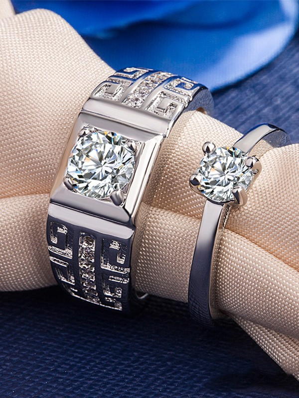 Fashion Copper With Zircon Adjustable Couple Rings