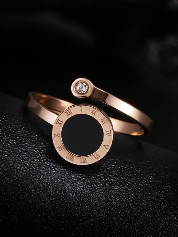Brilliant Titanium With Rhinestone Adjustable Rings