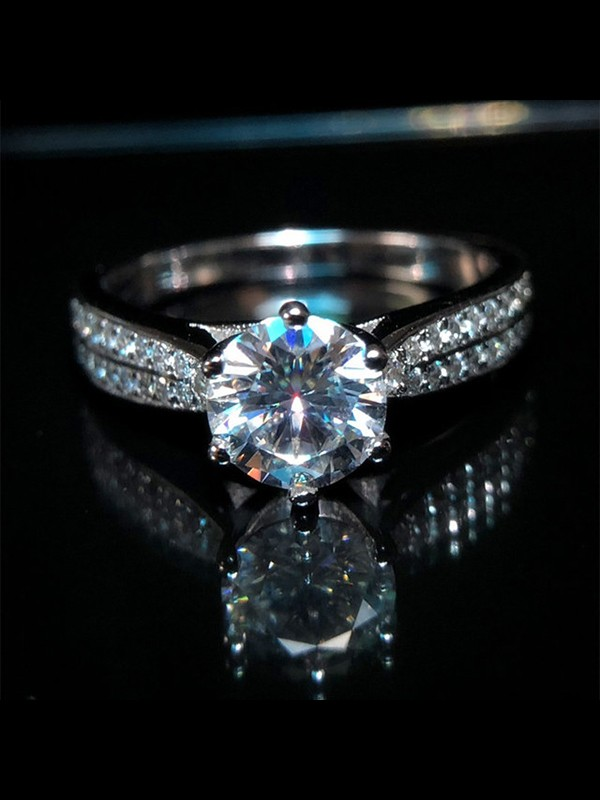 Gorgeous S925 Silver With High Carbon Diamond Wedding Rings