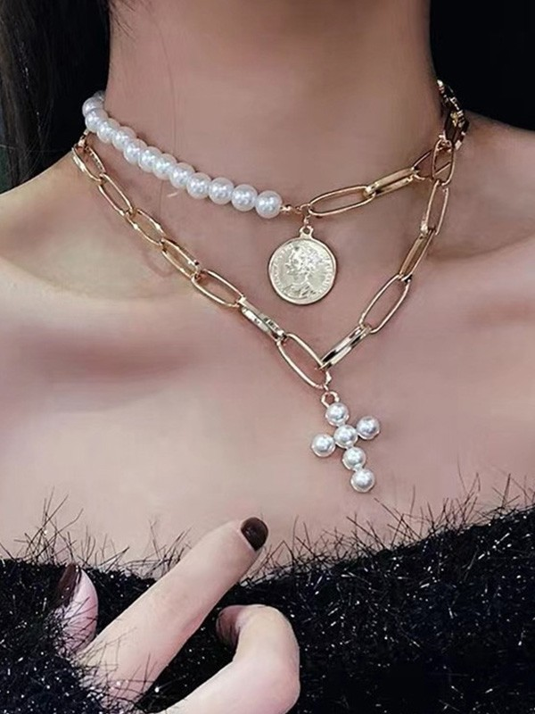 Vintage Alloy With Pearl Hot Sale Necklaces