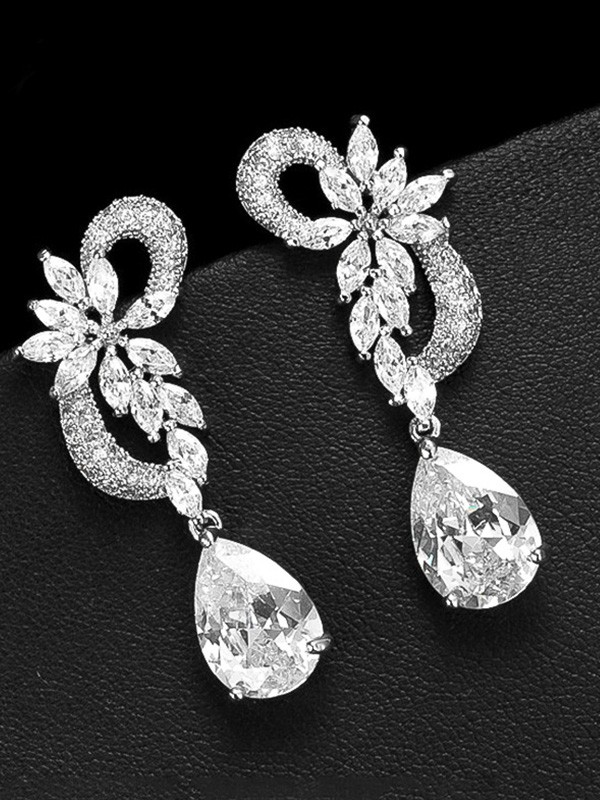 Attractive Copper With Crystal Earrings For Ladies