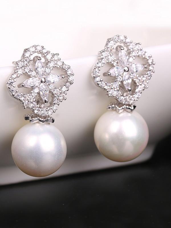 Graceful Copper With Zircon Imitation Pearl Hot Sale Earrings