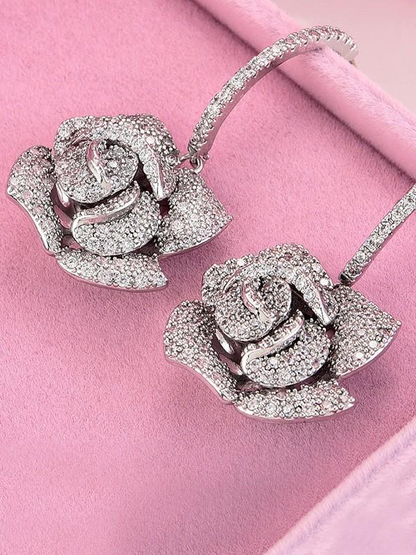 Fashion Copper With Flower Earrings For Women