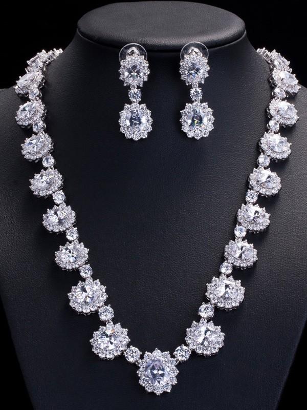 Beautiful Copper With Zircon Jewelry Set For Ladies