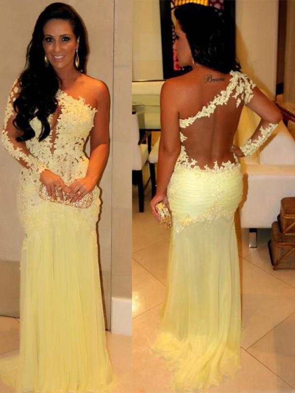 Confident Option Sheath Style One-Shoulder Applique Sweep/Brush Train Chiffon Dresses