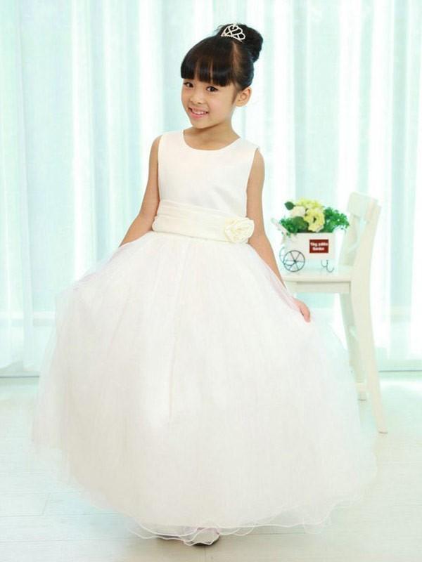 Glitz the Spot Princess Style Scoop Sash/Ribbon/Belt Long Organza Flower Girl Dresses