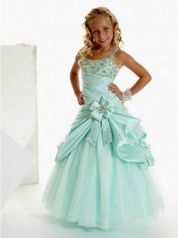 Modern Mood Princess Style Straps Beading Long Satin Flower Girl Dresses