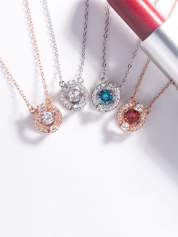 Charming S925 Silver With Rhinestone Necklaces For Women