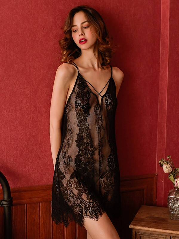 Deep V-Neck Nylon Night Wear