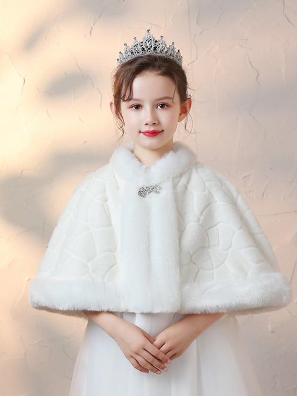Flower Girl Faux Fur With Rhinestone Wraps