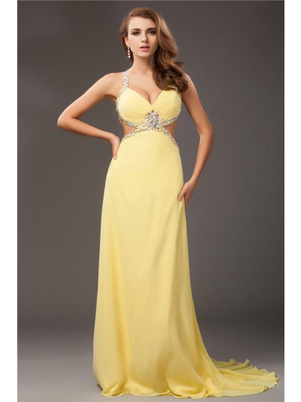 Styled to Smile Sheath Style Beading Halter Long Chiffon Dresses