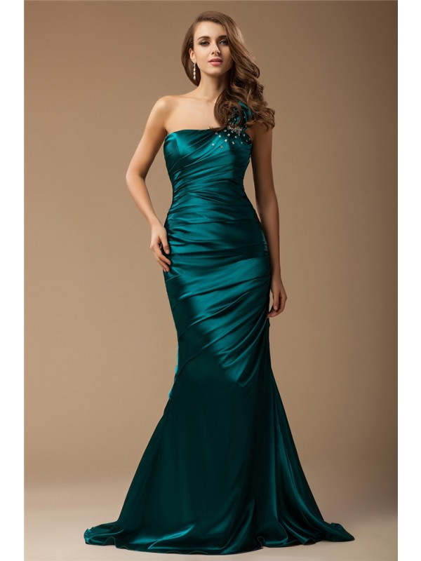 Cordially Delighted Mermaid Style One Shoulder Long Ruffles Beading Elastic Woven Satin Dresses