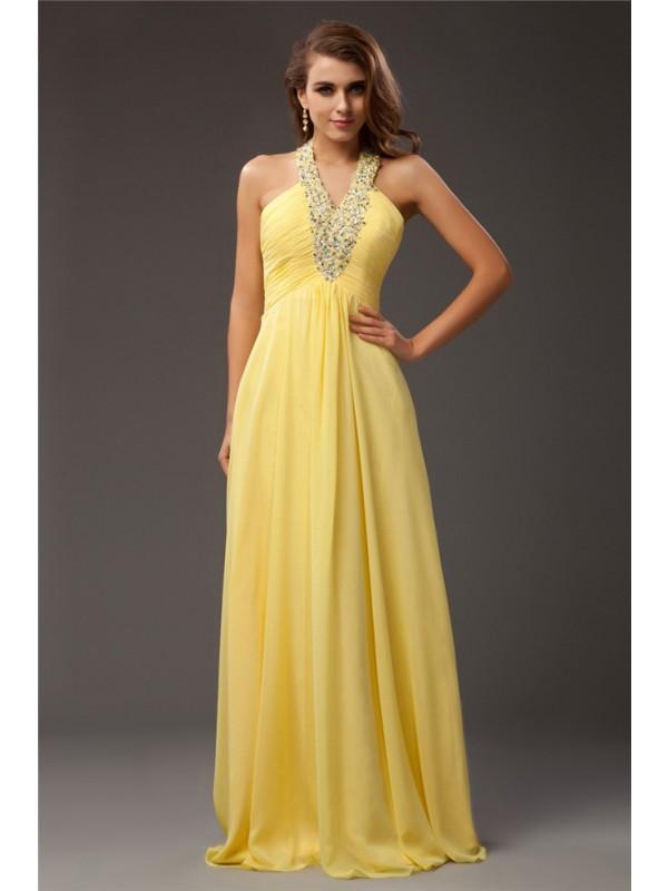 Festive Self Sheath Style Halter Beading Long Chiffon Dresses