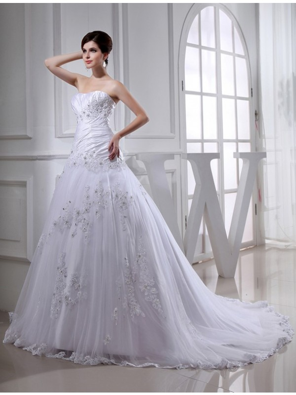Fresh Picks Princess Style Beading Long Strapless Tulle Taffeta Wedding Dresses