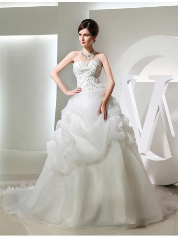 Aesthetic Honesty Ball Gown Beading Hand-made Flower Long Organza Wedding Dresses
