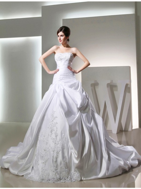 Treasured Reveries Ball Gown Beading Long Satin Strapless Wedding Dresses