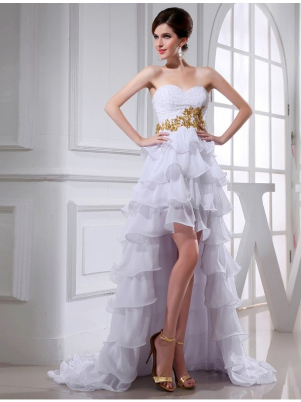 Dashing Darling Princess Style Beading Sweetheart High Low Applique Chiffon Cocktail Dresses