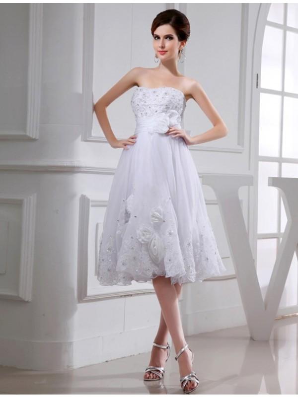 Comfortably Chic Princess Style Beading Short Organza Taffeta Applique Wedding Dresses