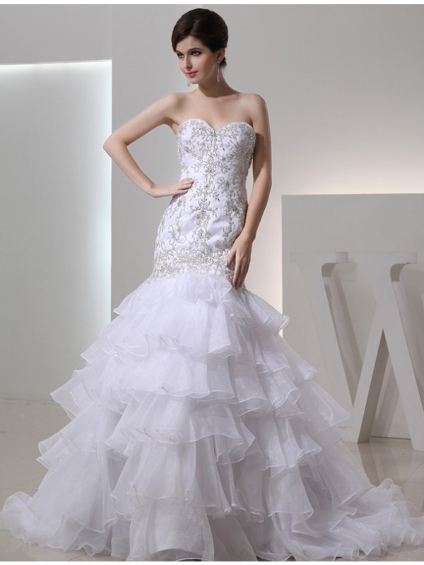 Festive Self Mermaid Style Beading Sweetheart Organza Embroidery Wedding Dresses