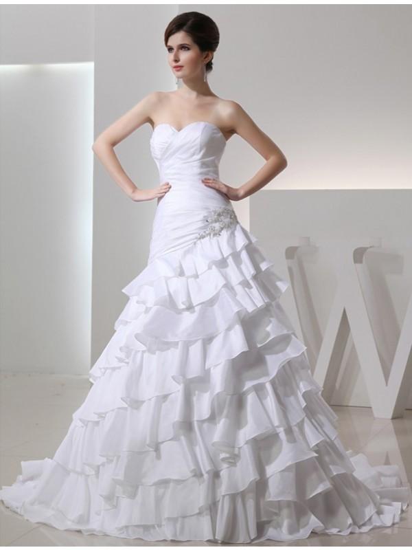 Styled to Smile Princess Style Beading Sweetheart Long Taffeta Wedding Dresses