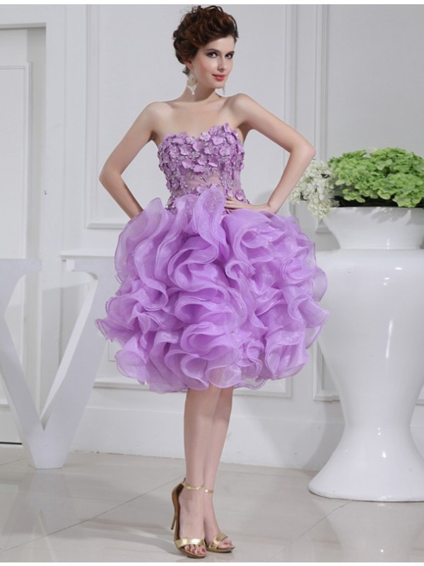 Time to Shine Princess Style Beading Sweetheart Short Organza Cocktail Dresses
