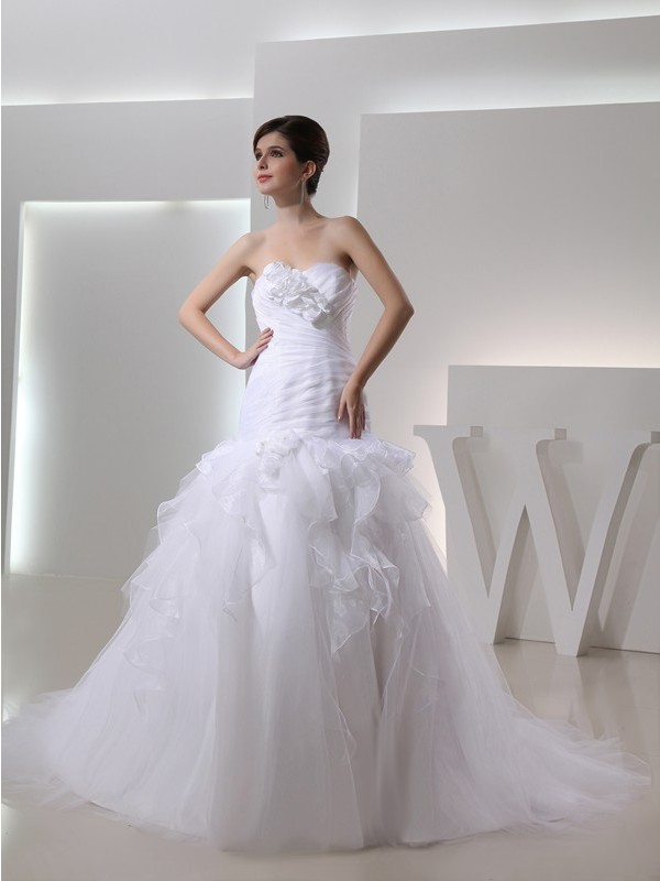 Pleased to be Me Mermaid Style Sweetheart Hand-made Flower Organza Wedding Dresses
