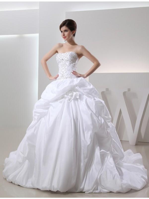 Confident Option Ball Gown Beading Long Taffeta Wedding Dresses