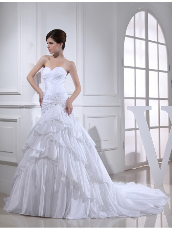 Fabulous Fit Mermaid Style Beading Applique Sweetheart Long Taffeta Wedding Dresses