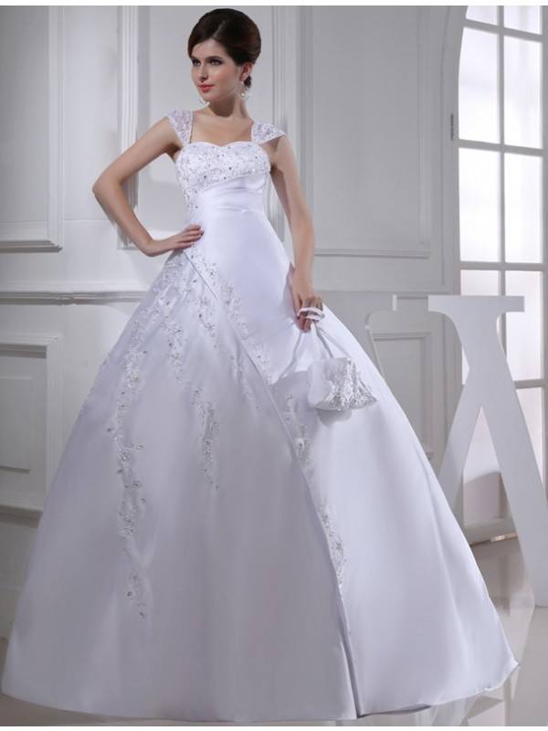 Cheerful Spirit Ball Gown Beading Straps Long Satin Wedding Dresses