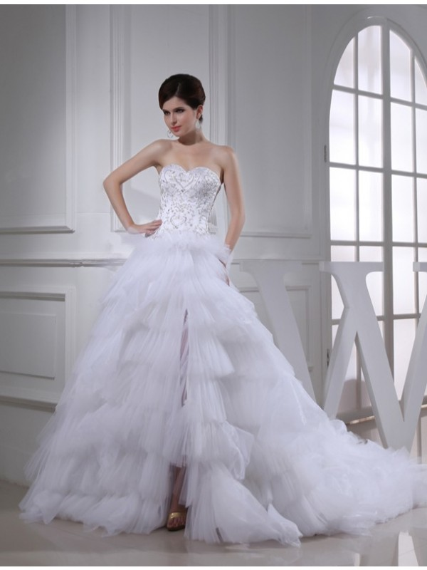 Too Much Fun Princess Style Beading Sweetheart Satin Wedding Dresses