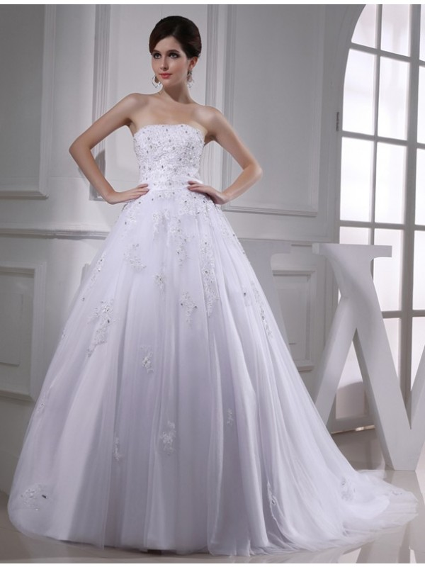 Memorable Magic Ball Gown Beading Strapless Applique Satin Tulle Wedding Dresses