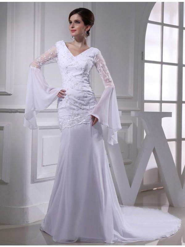 Stylish Refresh Mermaid Style Beading V-neck Chiffon Long Wedding Dresses