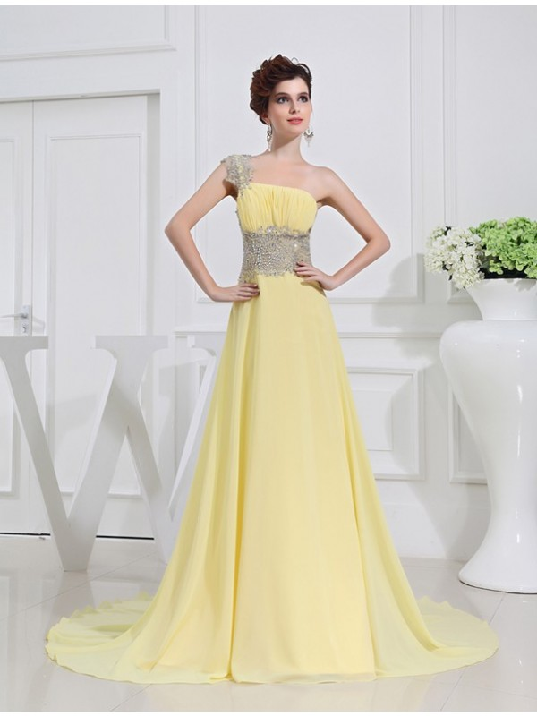 Just My Style Princess Style One-shoulder Beading Appliques Chiffon Dresses