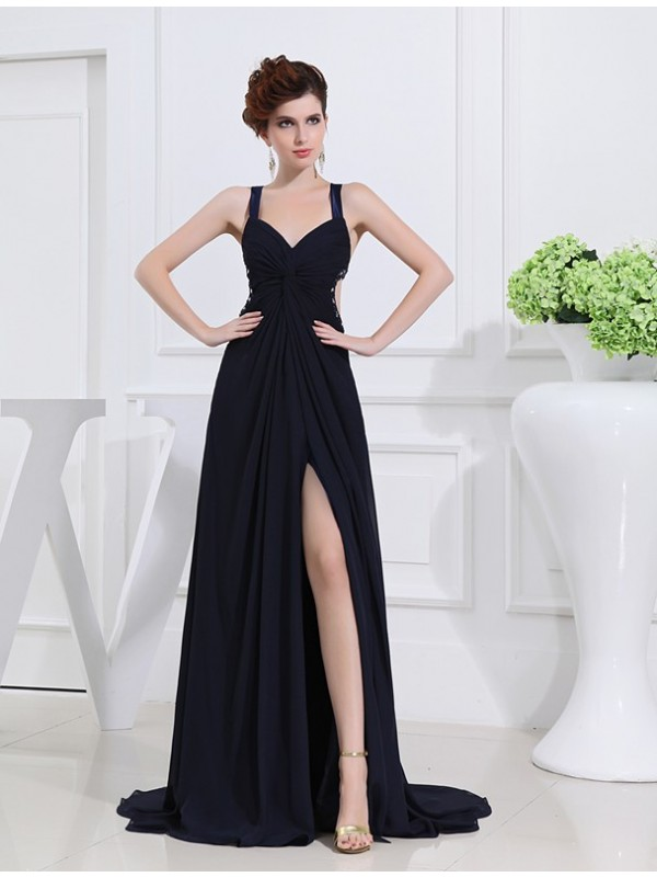 Cheerful Spirit Princess Style Beading V-neck Long Chiffon Dresses