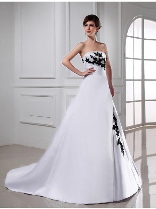 Vibrant Stylist Princess Style Beading Strapless Long Satin Wedding Dresses