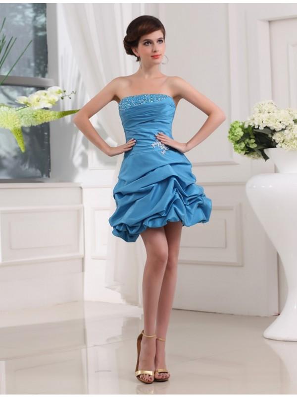 Treasured Reveries Princess Style Beading Strapless Short Taffeta Cocktail Dresses