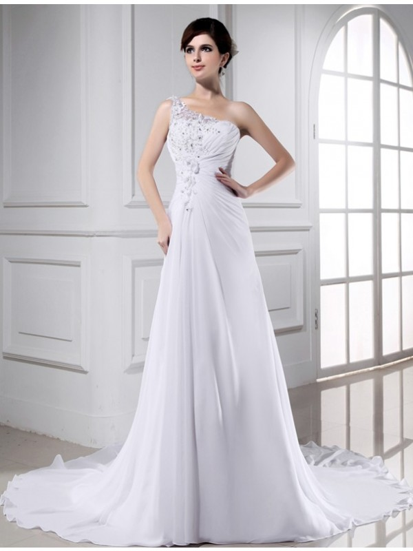 Defined Shine Princess Style Beading One-shoulder Long Chiffon Wedding Dresses