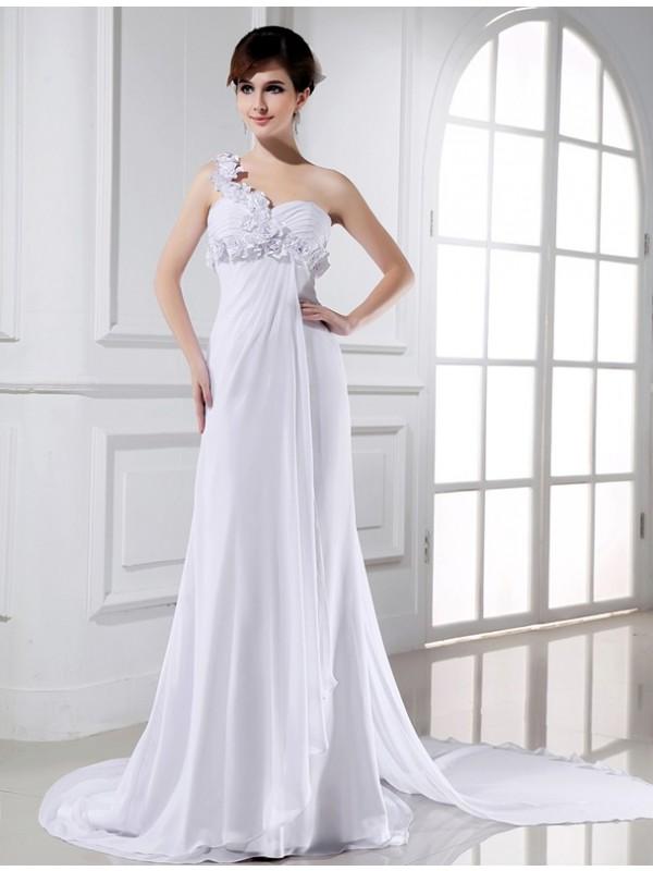 Confident Option Princess Style One-shoulder Beading Hand-made Flower Chiffon Wedding Dresses