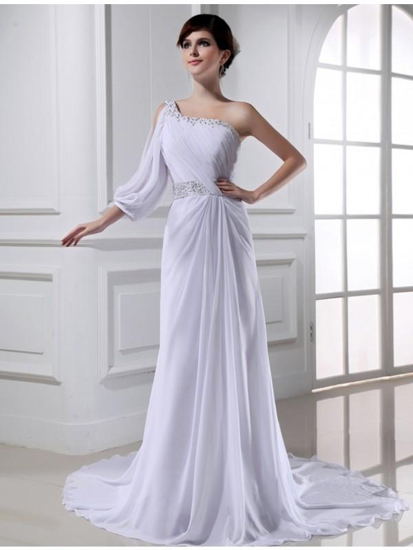 Fabulous Fit Princess Style Beading One-shoulder One-sleeve Chiffon Wedding Dresses