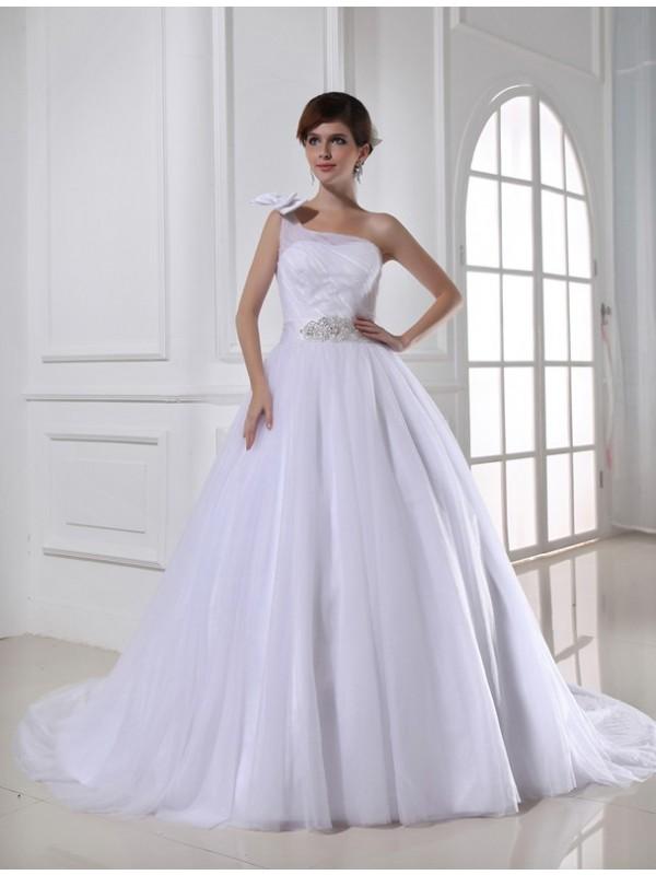 Modern Mood Ball Gown Beading One-shoulder Satin Tulle Wedding Dresses