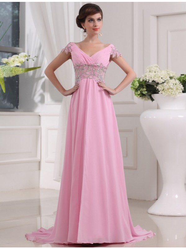 Dancing Queen Princess Style V-neck Long Beading Chiffon Dresses