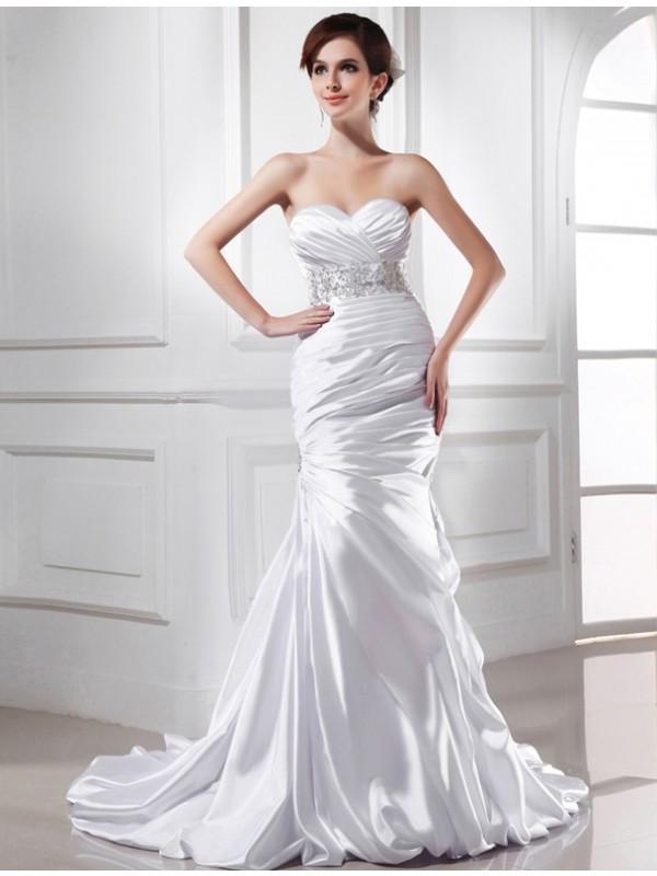 Intuitive Impact Mermaid Style Beading Sweetheart Elastic Woven Satin Wedding Dresses